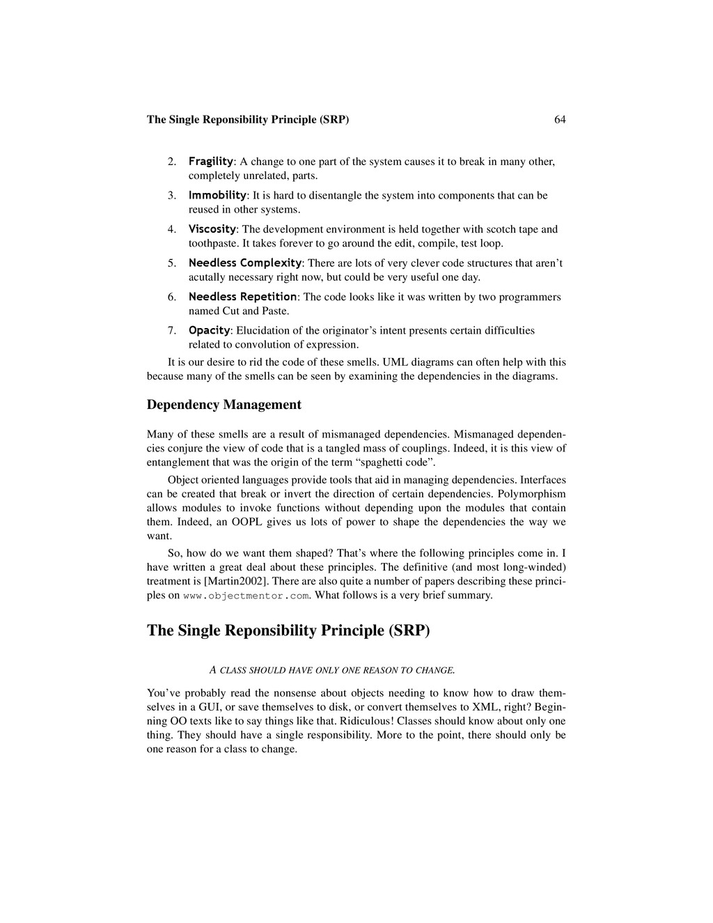 64 The Single Reponsibility Principle (SRP) 2. ...