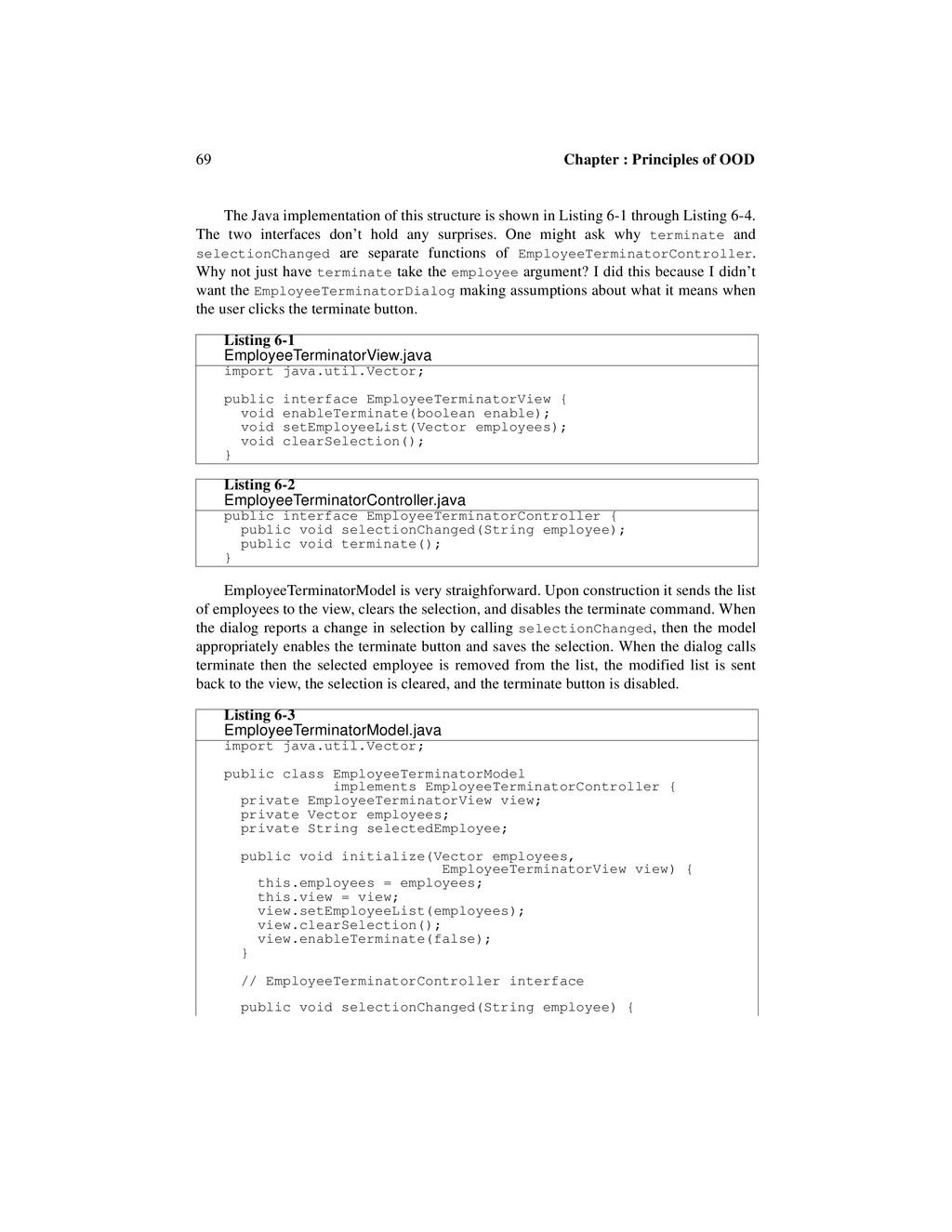 69 Chapter : Principles of OOD The Java impleme...