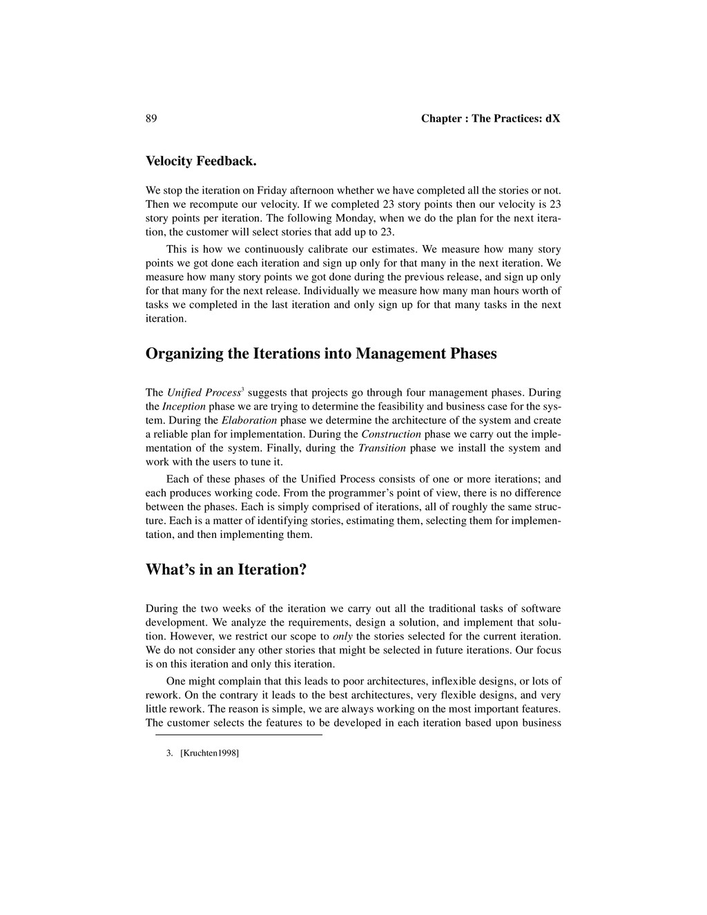 89 Chapter : The Practices: dX Velocity Feedbac...