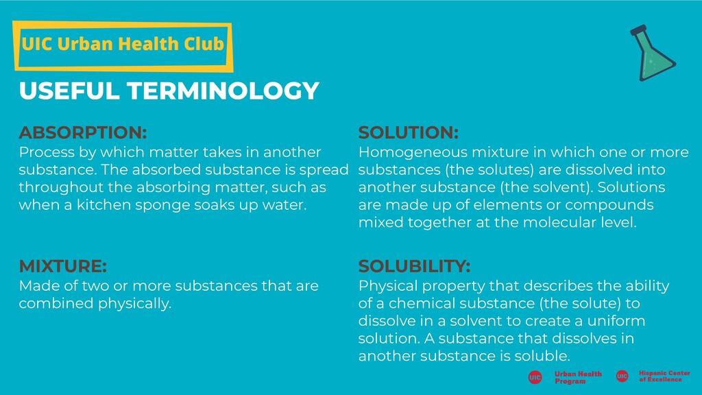 UIC Urban Health Club USEFUL TERMINOLOGY ABSORP...