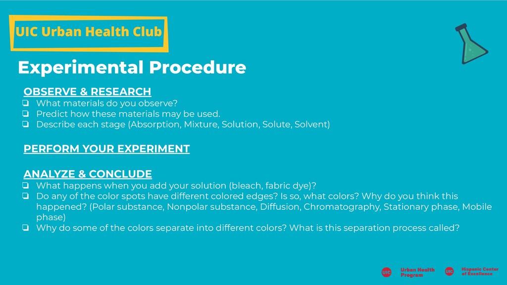 UIC Urban Health Club Experimental Procedure OB...