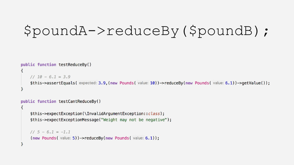 $poundA->reduceBy($poundB);