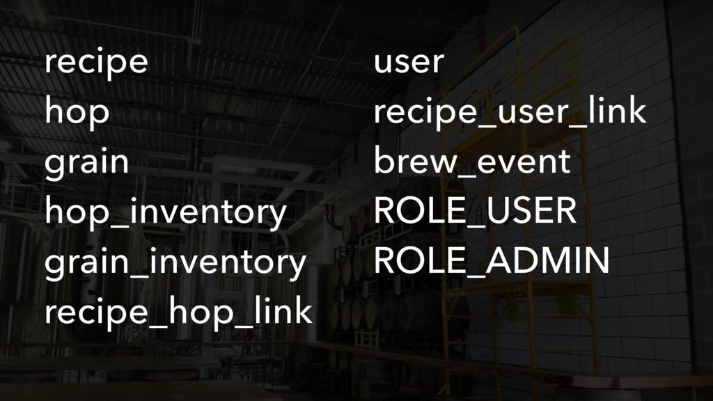 recipe hop grain hop_inventory grain_inventory ...