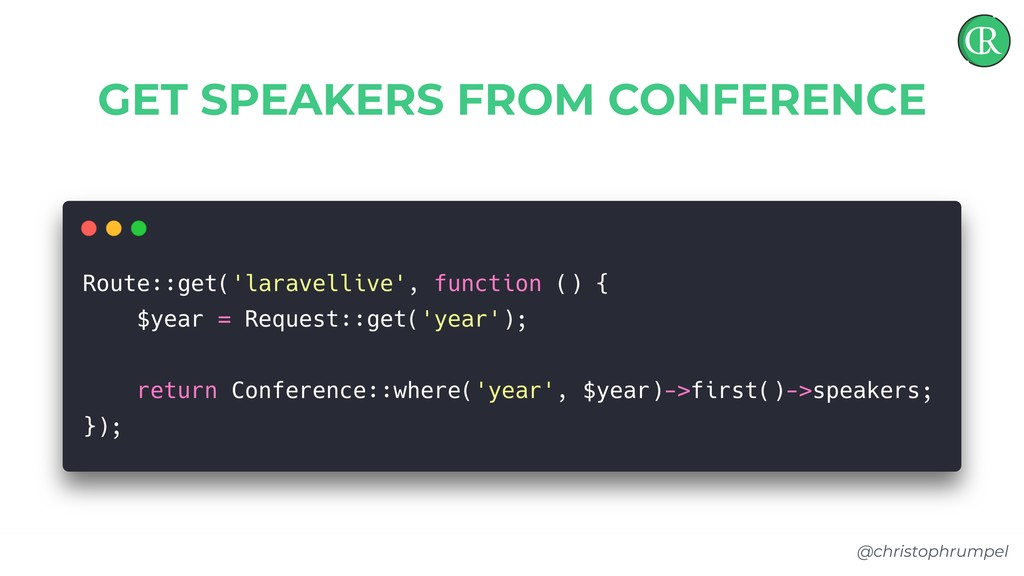 @christophrumpel GET SPEAKERS FROM CONFERENCE