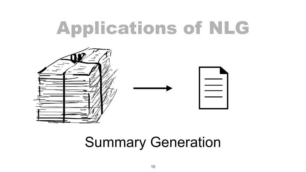 Applications of NLG 10 Summary Generation