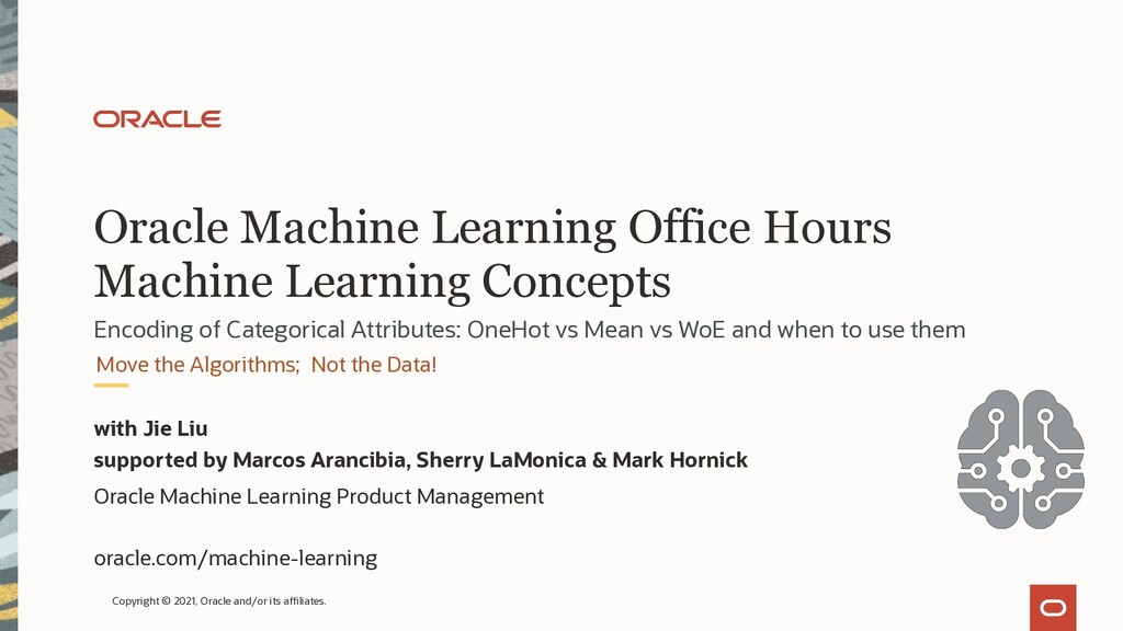 Oracle Machine Learning Office Hours Machine Le...