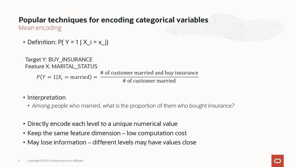 Mean encoding • Definition: P( Y = 1 | X_i = x_...