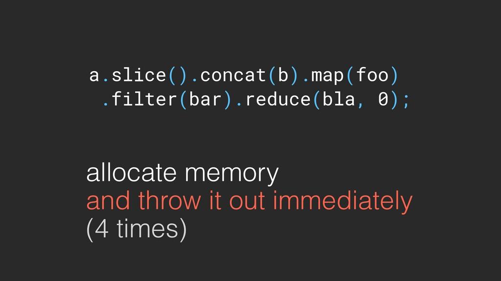a.slice().concat(b).map(foo) .filter(bar).reduc...
