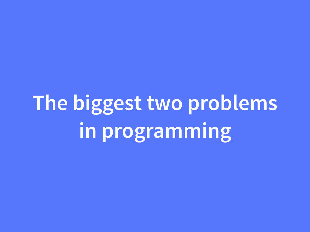 The biggest two problems in programming