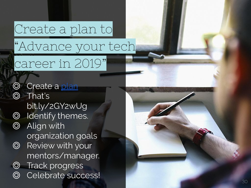 "Create a plan to ""Advance your tech career in 2..."