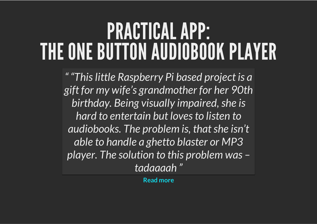 PRACTICAL APP: THE ONE BUTTON AUDIOBOOK PLAYER ...