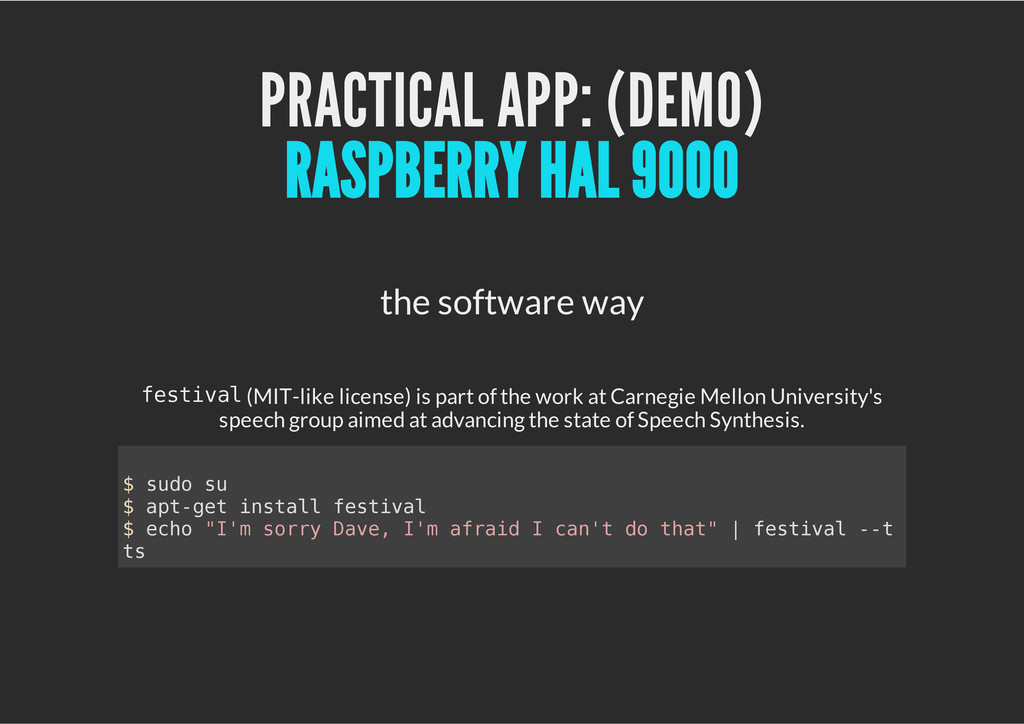 PRACTICAL APP: (DEMO) the software way f e s t ...