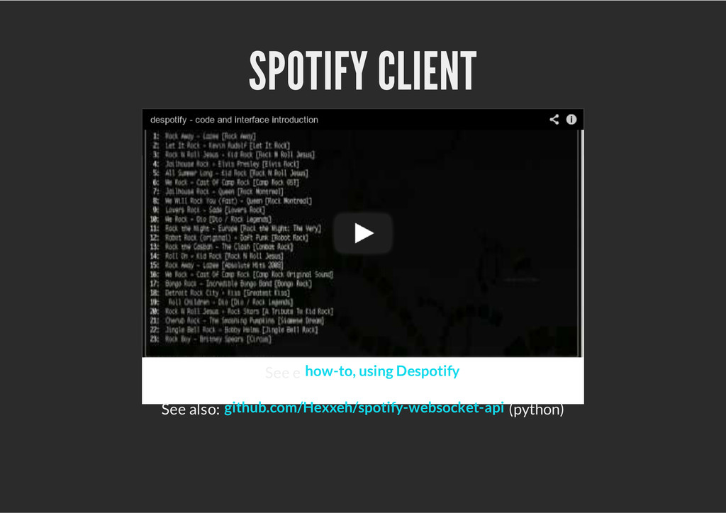 SPOTIFY CLIENT See e See also: (python) how-to,...