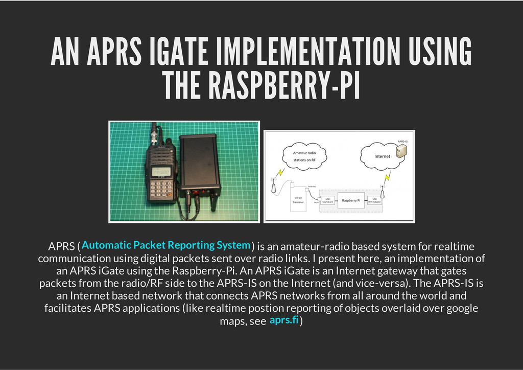 AN APRS IGATE IMPLEMENTATION USING THE RASPBERR...