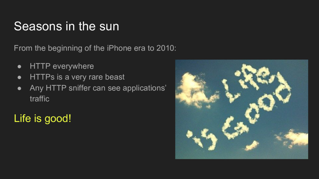 Seasons in the sun From the beginning of the iP...