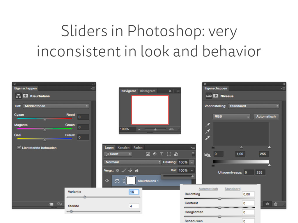 Sliders in Photoshop: very inconsistent in look...