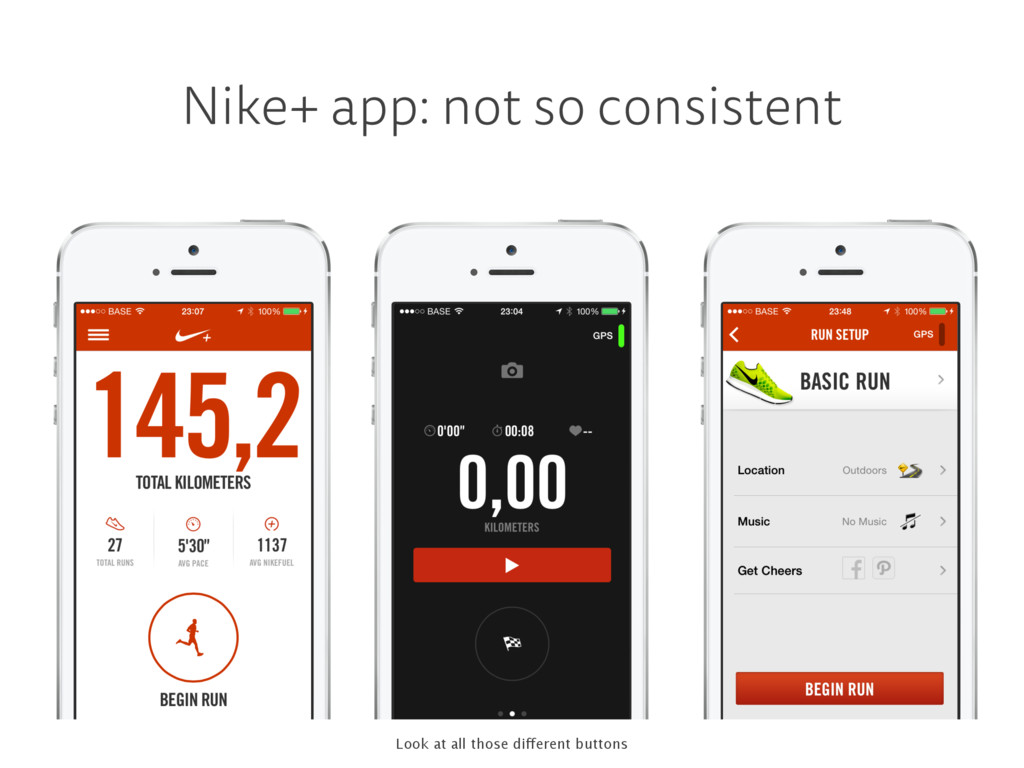 Nike+ app: not so consistent Look at all those ...