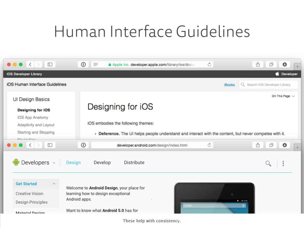 . Human Interface Guidelines These help with co...