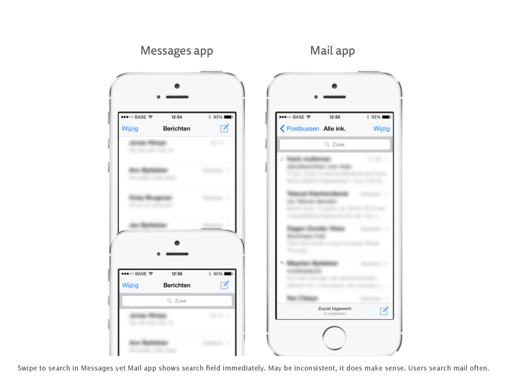 Messages app Mail app Swipe to search in Messag...