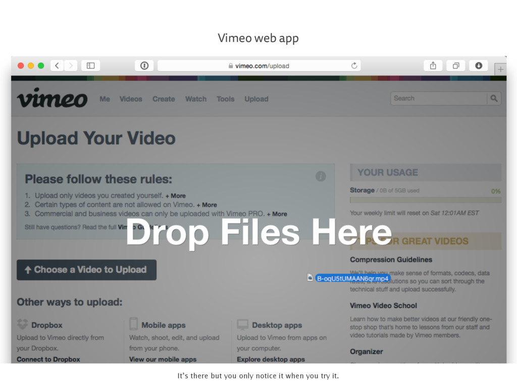 Vimeo web app It's there but you only notice it...