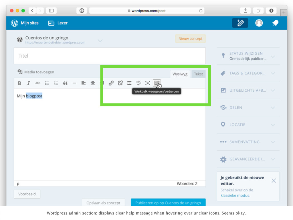 Wordpress admin section: displays clear help me...