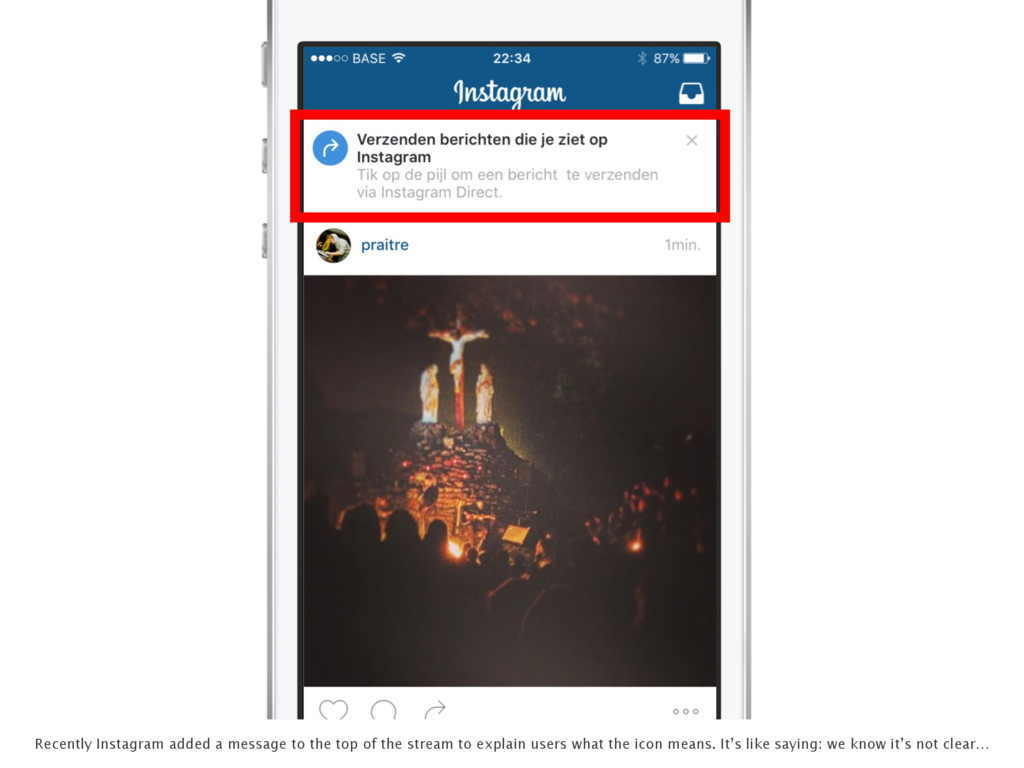 Recently Instagram added a message to the top o...