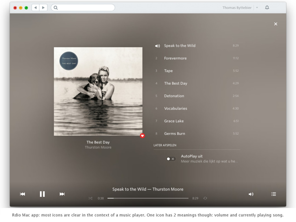 Rdio Mac app: most icons are clear in the conte...