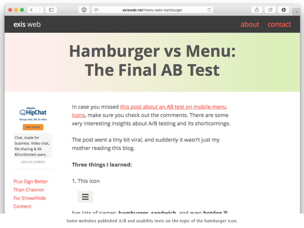 Some websites published A/B and usability tests...