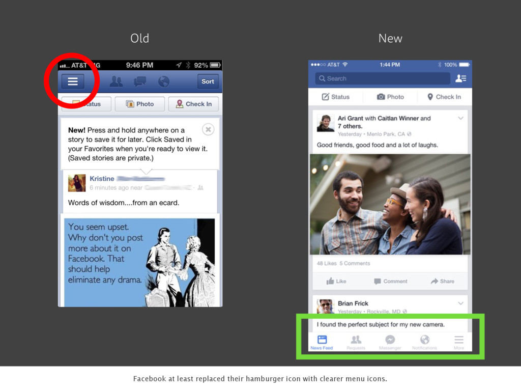 Old New Facebook at least replaced their hambur...