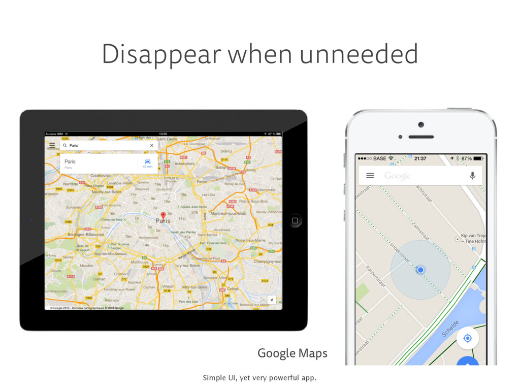 Disappear when unneeded Google Maps Simple UI, ...