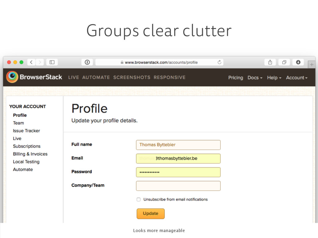 Groups clear clutter Looks more manageable