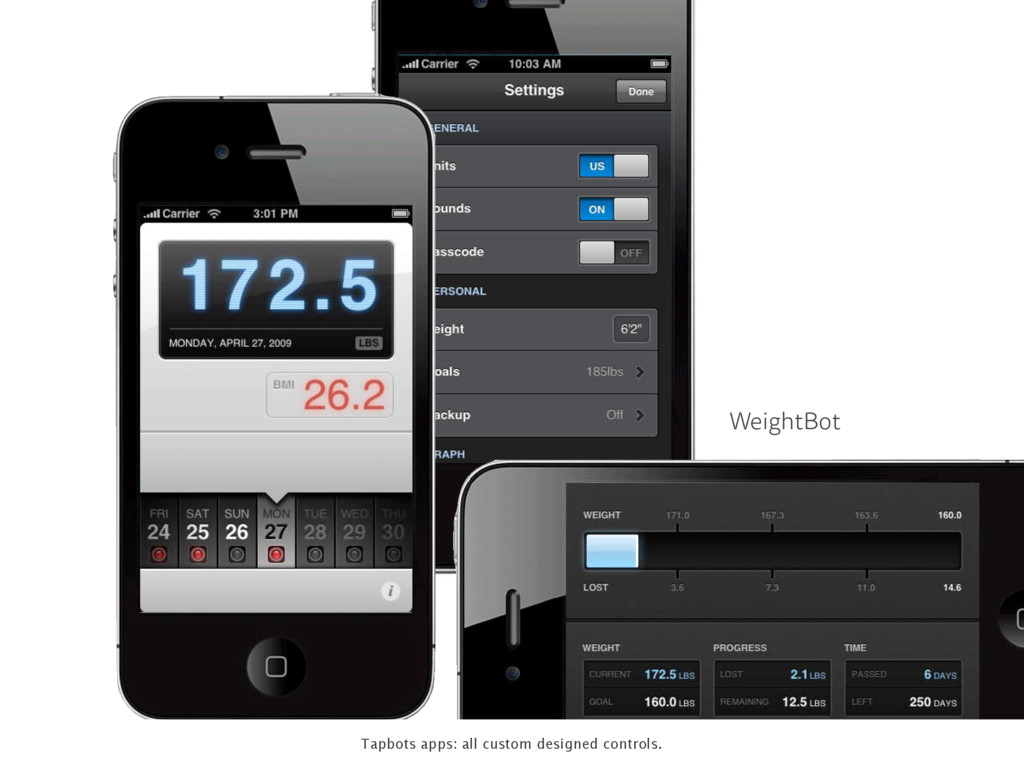 WeightBot Tapbots apps: all custom designed con...