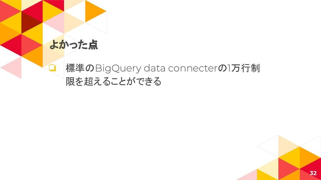 よかった点 ❏ 標準のBigQuery data connecterの1万行制 限を超えること...