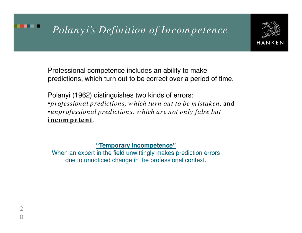 2 0 Polanyi's Definition of Incompetence Profes...