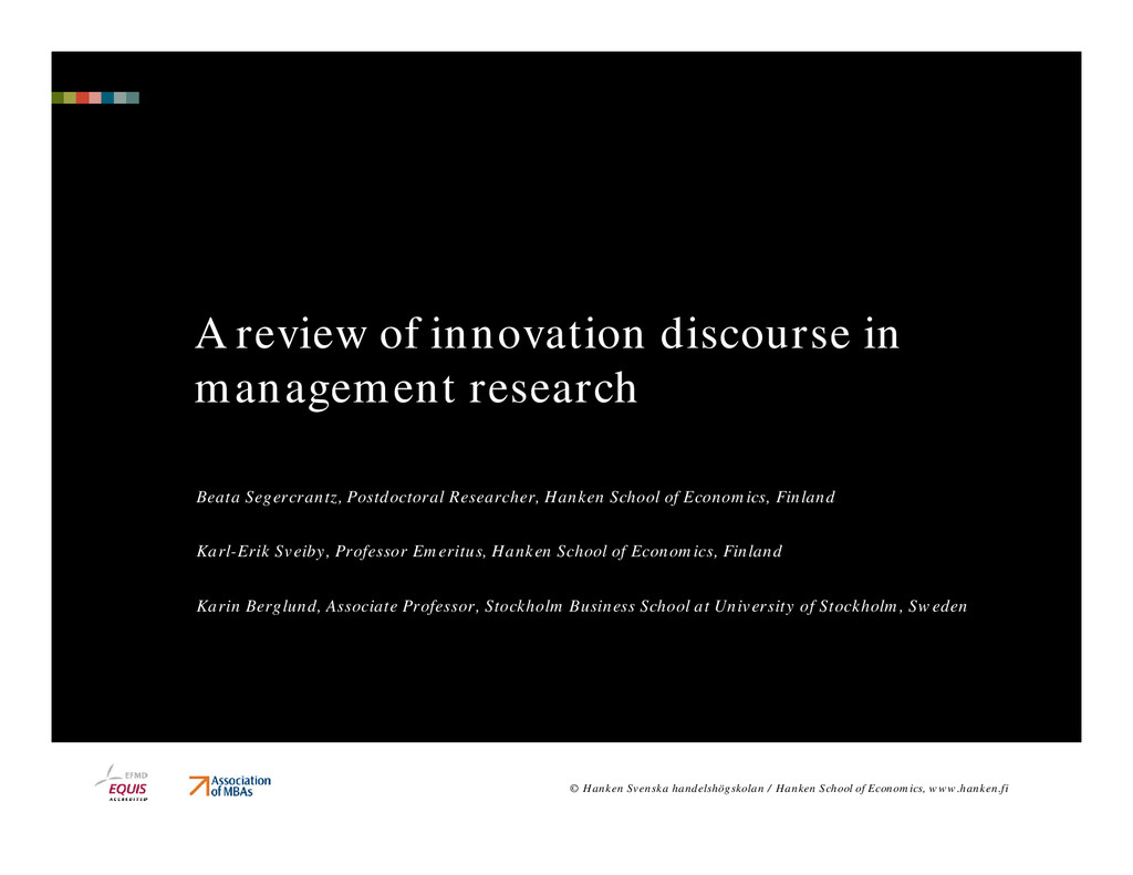 A review of innovation discourse in management ...