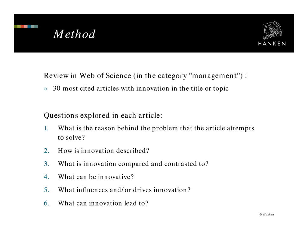 Method Review in Web of Science (in the categor...