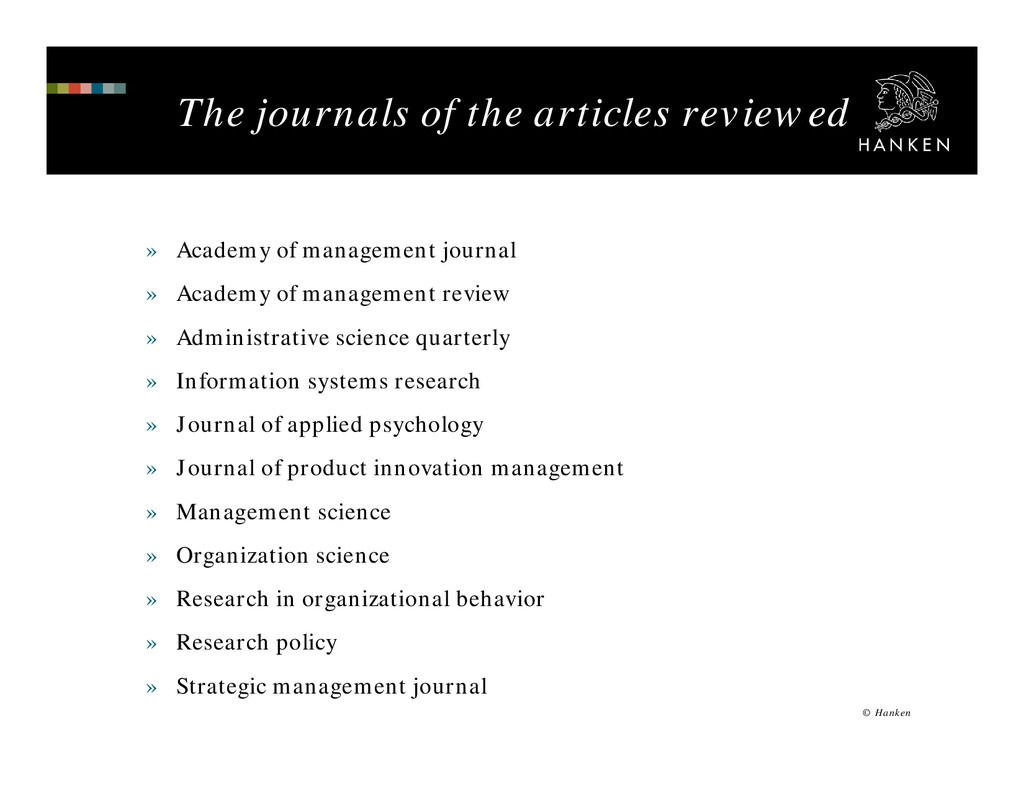 The journals of the articles reviewed » Academy...
