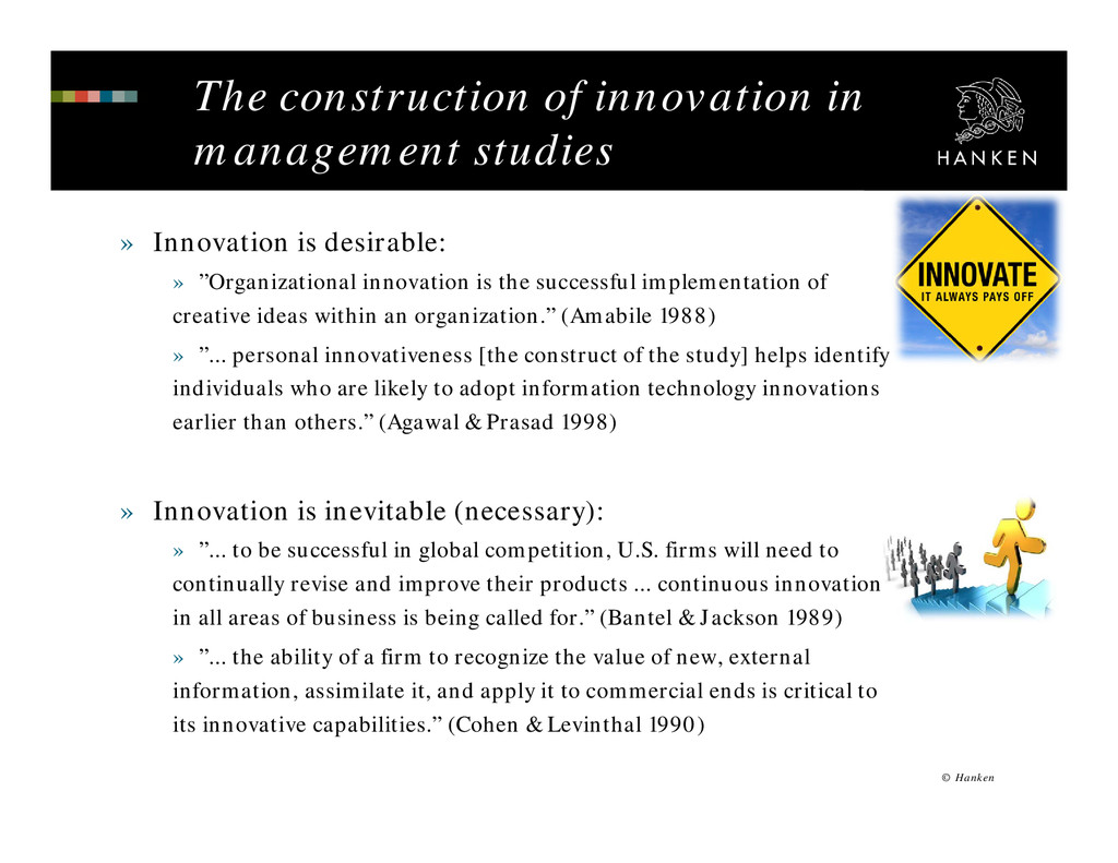 The construction of innovation in management st...