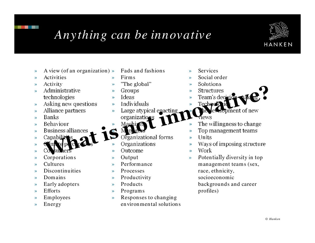 Anything can be innovative » A view (of an orga...