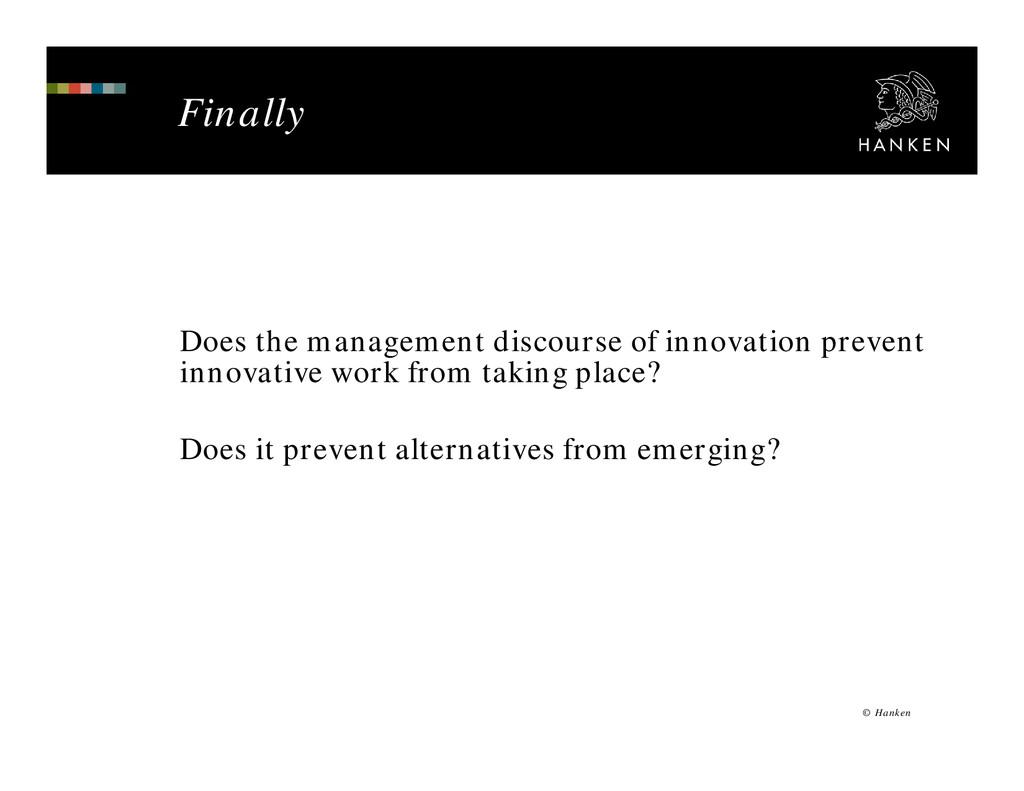 Finally © Hanken Does the management discourse ...