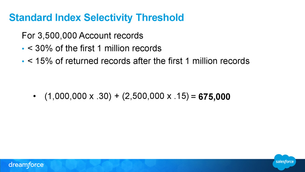Standard Index Selectivity Threshold For 3,500,...