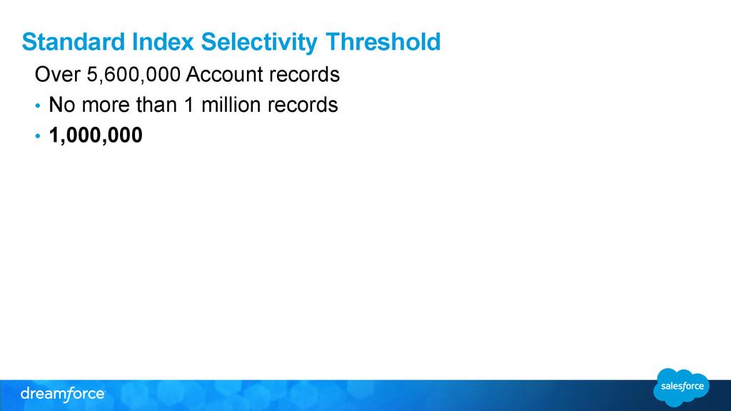 Standard Index Selectivity Threshold Over 5,600...