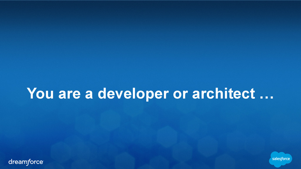 You are a developer or architect …