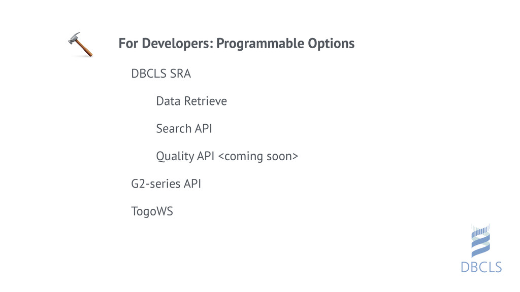 For Developers: Programmable Options DBCLS SRA...