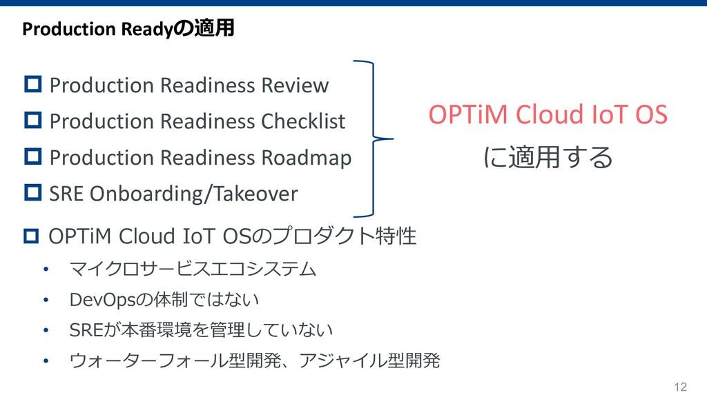 12 OPTiM Cloud IoT OS に適⽤する Production Readyの適⽤...