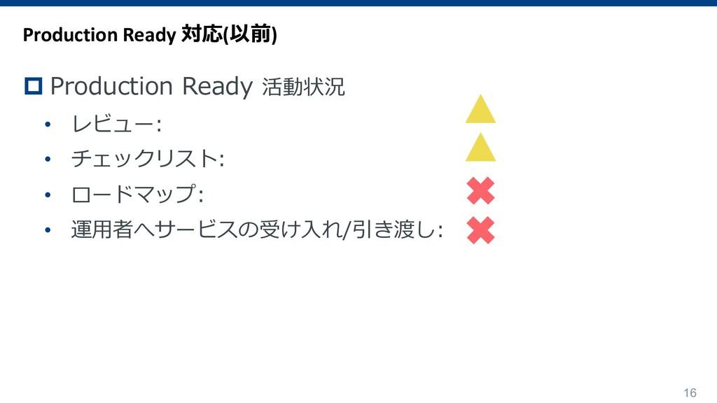 16 p Production Ready 活動状況 • レビュー: • チェックリスト: •...