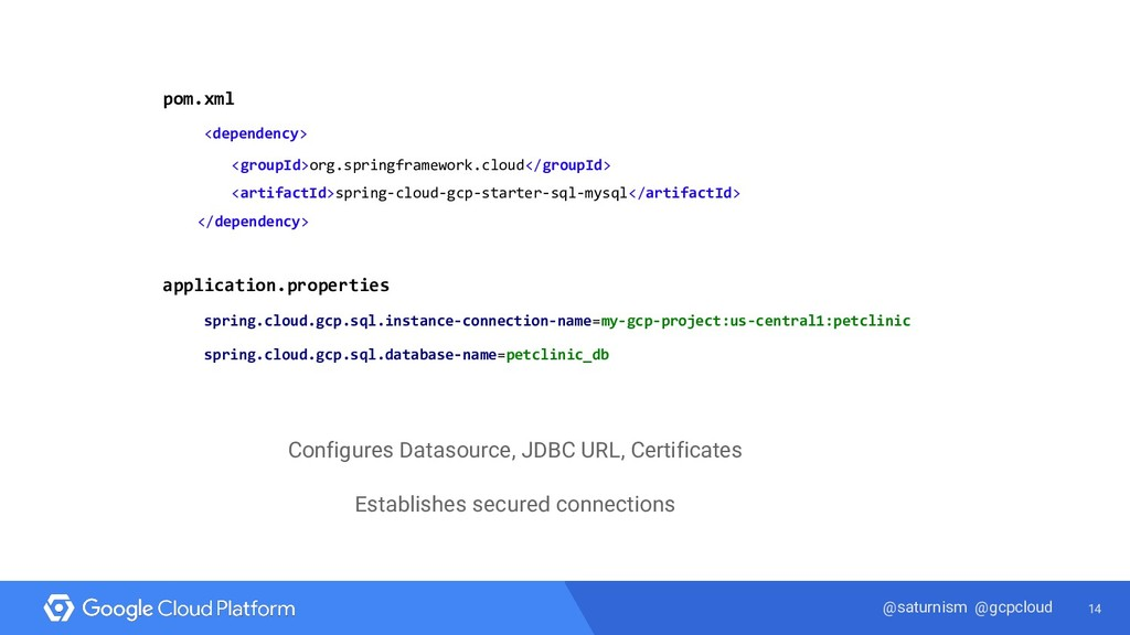 14 @saturnism @gcpcloud pom.xml <dependency> <g...