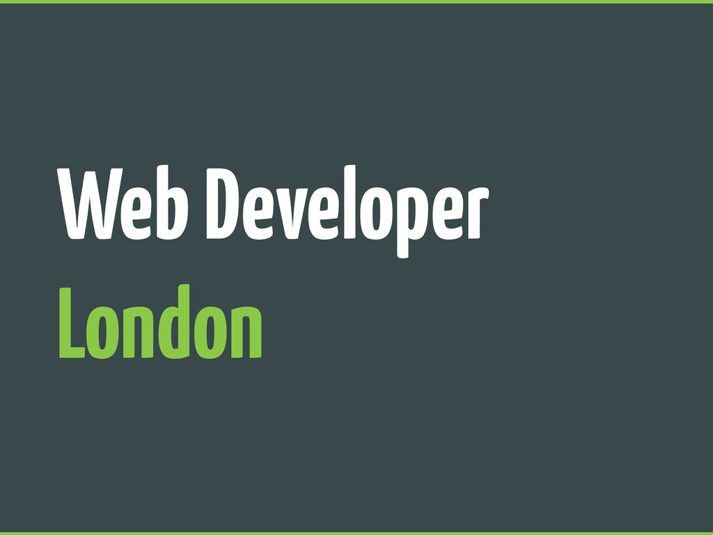 Web Developer London
