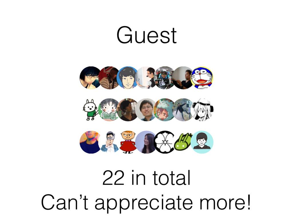 Guest 22 in total Can't appreciate more!