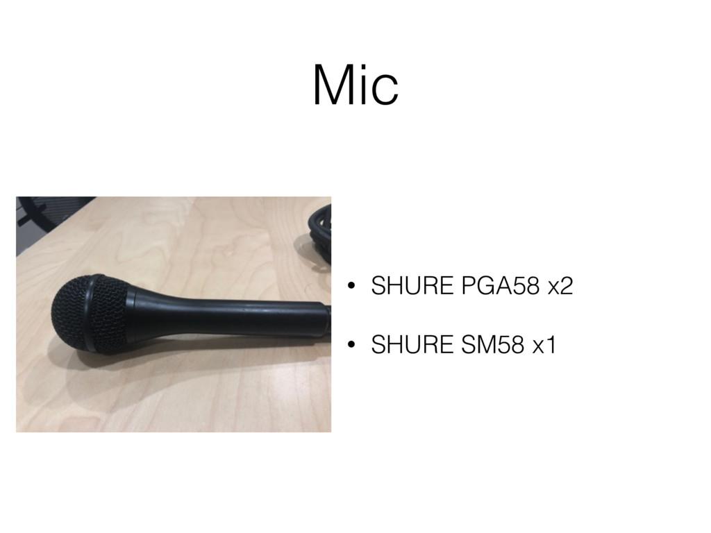 Mic • SHURE PGA58 x2 • SHURE SM58 x1